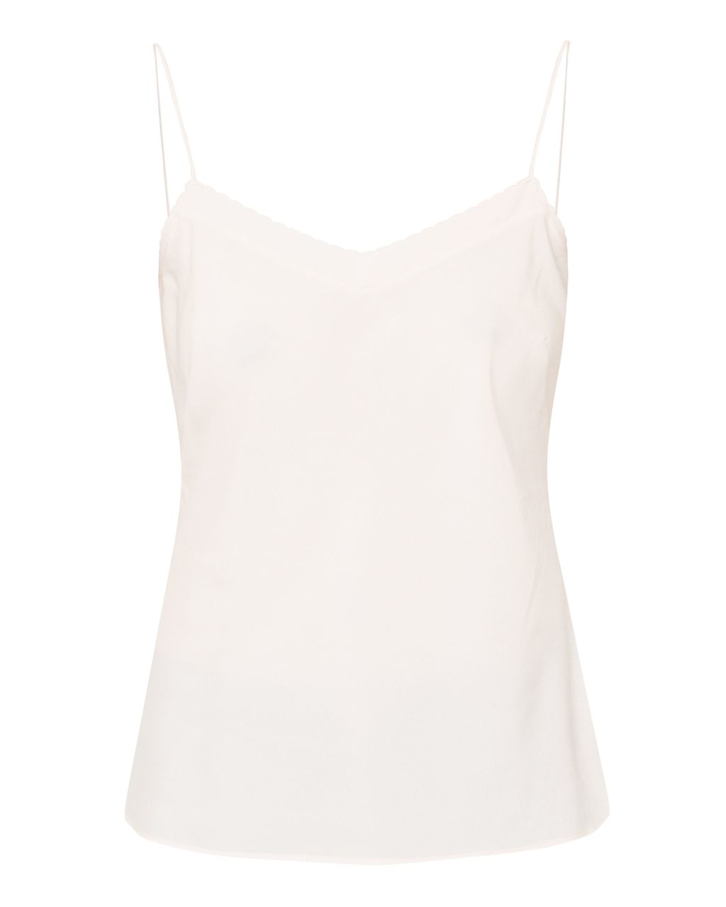 Tissa Scalloped Edge Cami Top, Blush - neckline: v-neck; sleeve style: spaghetti straps; pattern: plain; style: camisole; predominant colour: blush; occasions: casual, creative work; length: standard; fibres: polyester/polyamide - 100%; fit: straight cut; sleeve length: sleeveless; texture group: crepes; pattern type: fabric; season: s/s 2016; wardrobe: basic