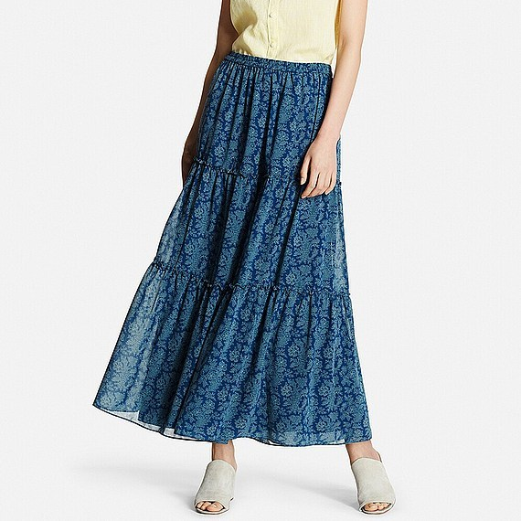 Women Print Tiered Maxi Skirt Blue - length: ankle length; fit: loose/voluminous; pattern: paisley; waist: high rise; secondary colour: pale blue; predominant colour: navy; occasions: casual, holiday; style: maxi skirt; fibres: polyester/polyamide - 100%; texture group: sheer fabrics/chiffon/organza etc.; hip detail: ruffles/tiers/tie detail at hip; pattern type: fabric; pattern size: standard (bottom); season: s/s 2016