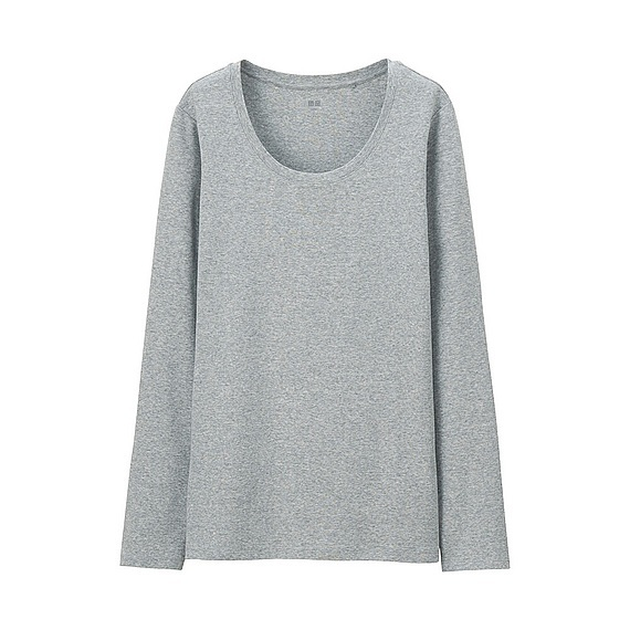 Women Supima Cotton Crew Neck T Shirt (7 Colours) Gray - neckline: round neck; style: t-shirt; predominant colour: mid grey; occasions: casual; length: standard; fibres: cotton - stretch; fit: body skimming; sleeve length: long sleeve; sleeve style: standard; pattern type: fabric; pattern size: light/subtle; texture group: jersey - stretchy/drapey; pattern: marl; season: s/s 2016; wardrobe: basic