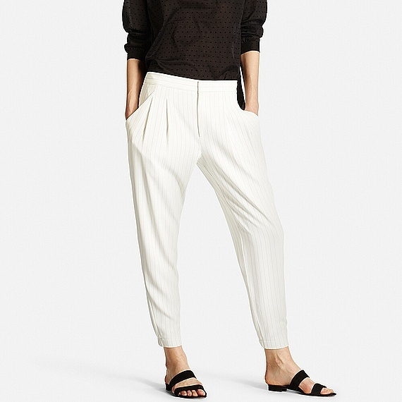 Women Smart Striped Drape Jogger Trousers Off White - pattern: plain; style: peg leg; waist: mid/regular rise; predominant colour: ivory/cream; secondary colour: ivory/cream; length: ankle length; fibres: polyester/polyamide - 100%; hip detail: subtle/flattering hip detail; trends: monochrome; texture group: crepes; fit: tapered; pattern type: fabric; occasions: creative work; season: s/s 2016; wardrobe: basic