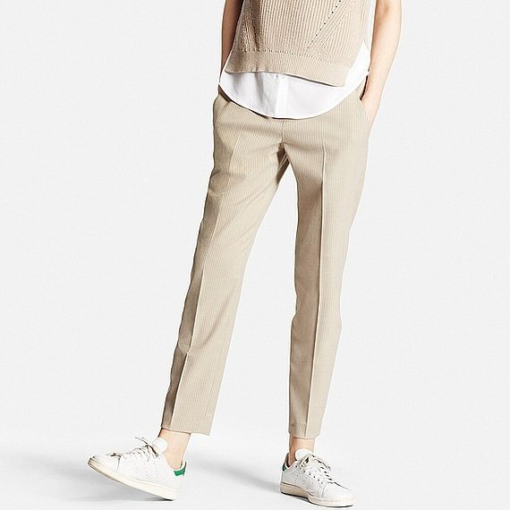 Women Ankle Length Striped Trousers Beige - pattern: plain; waist: mid/regular rise; predominant colour: stone; length: ankle length; fibres: polyester/polyamide - stretch; fit: straight leg; pattern type: fabric; texture group: woven light midweight; style: standard; occasions: creative work; season: s/s 2016; wardrobe: basic