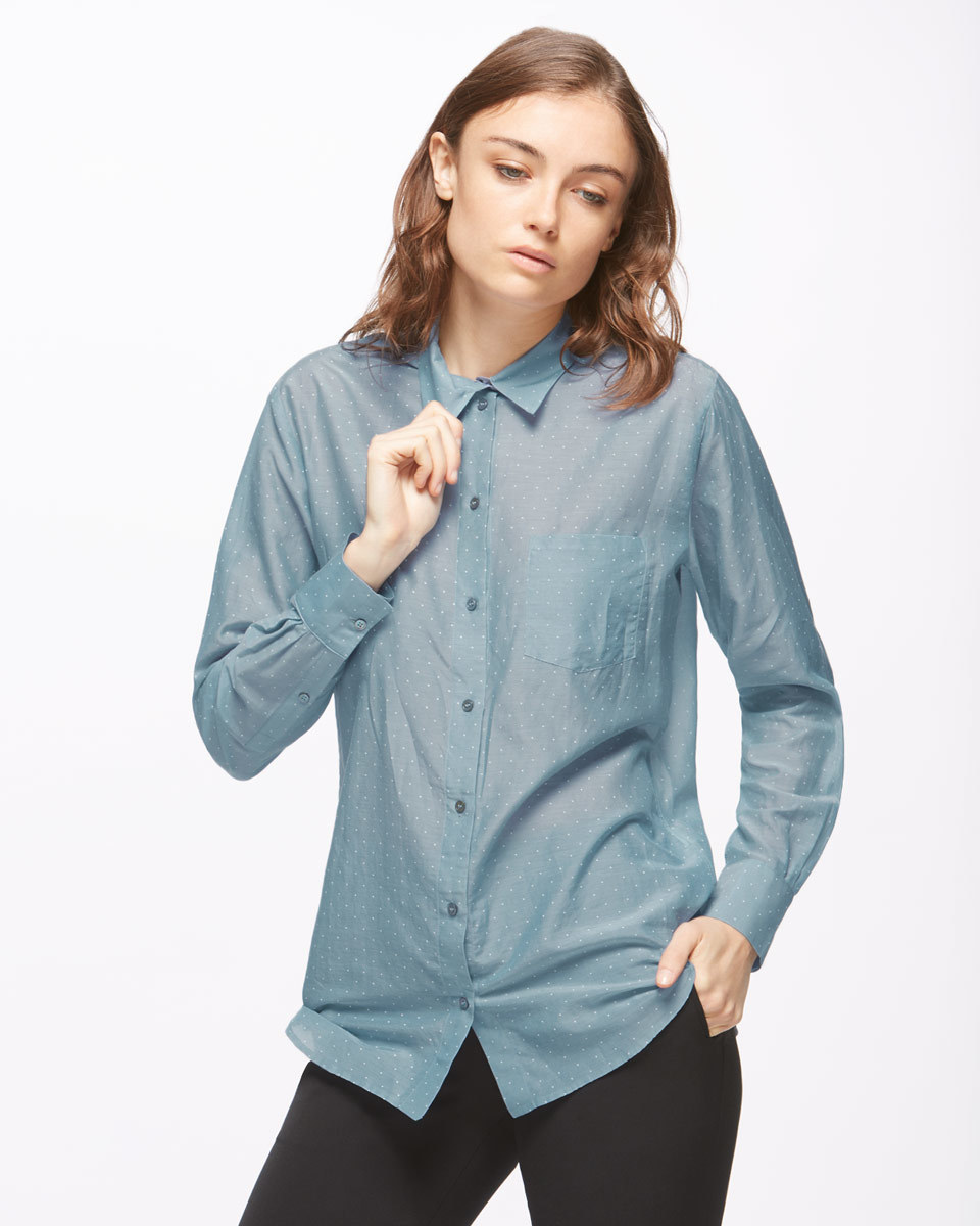 Micro Spot Voile Shirt - neckline: shirt collar/peter pan/zip with opening; pattern: plain; style: shirt; predominant colour: denim; occasions: casual, work, creative work; length: standard; fibres: cotton - mix; fit: loose; sleeve length: long sleeve; sleeve style: standard; texture group: silky - light; pattern type: fabric; season: s/s 2016; wardrobe: highlight