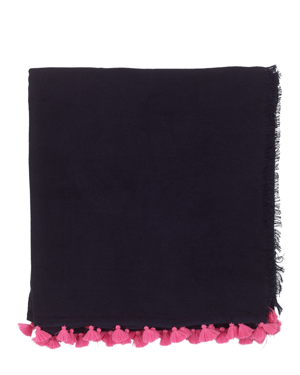 Contrast Pom Pom Scarf - secondary colour: hot pink; predominant colour: black; occasions: casual; type of pattern: standard; style: regular; size: standard; material: fabric; embellishment: fringing; pattern: plain; season: s/s 2016; wardrobe: basic