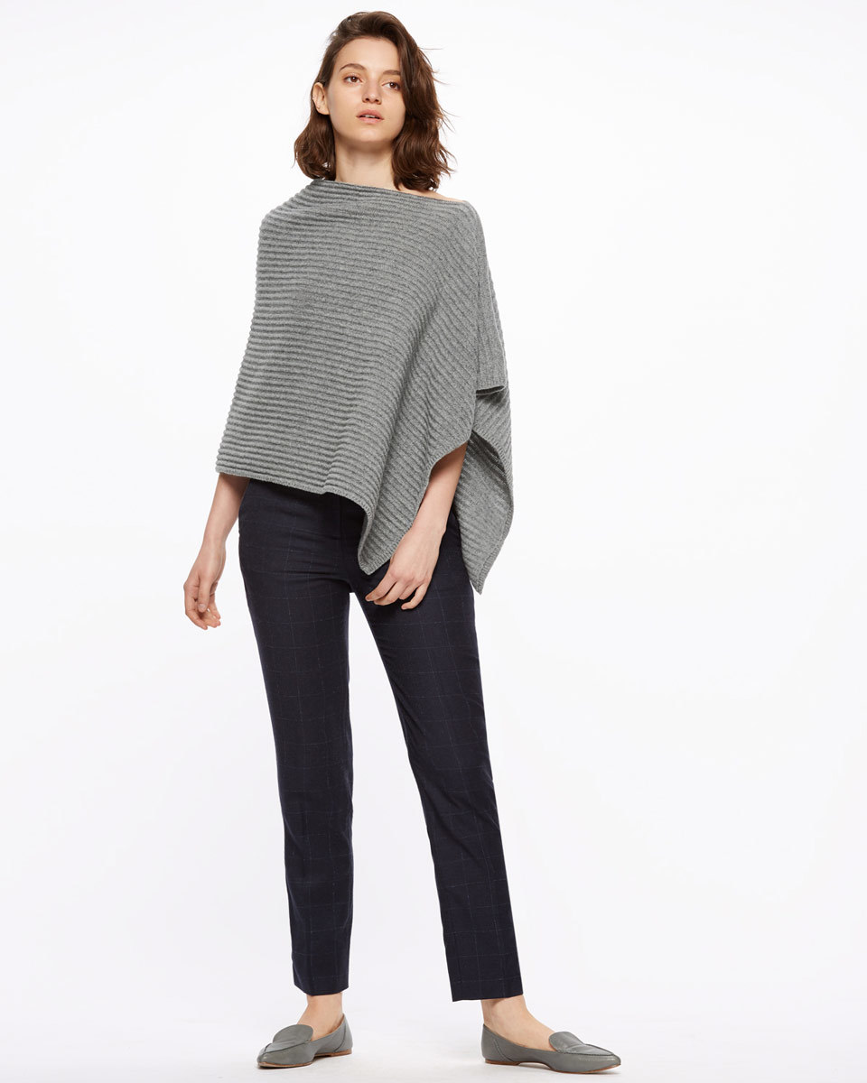 Ottoman Knit Poncho - neckline: slash/boat neckline; pattern: plain; style: poncho; predominant colour: charcoal; occasions: casual; length: standard; fibres: wool - 100%; fit: loose; sleeve length: 3/4 length; texture group: knits/crochet; pattern type: fabric; sleeve style: cape/poncho sleeve; season: s/s 2016; wardrobe: highlight