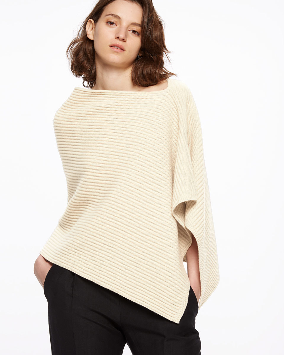 Ottoman Knit Poncho - neckline: slash/boat neckline; pattern: plain; style: poncho; predominant colour: ivory/cream; occasions: casual; length: standard; fibres: wool - 100%; fit: loose; sleeve length: 3/4 length; texture group: knits/crochet; pattern type: fabric; sleeve style: cape/poncho sleeve; season: s/s 2016; wardrobe: highlight