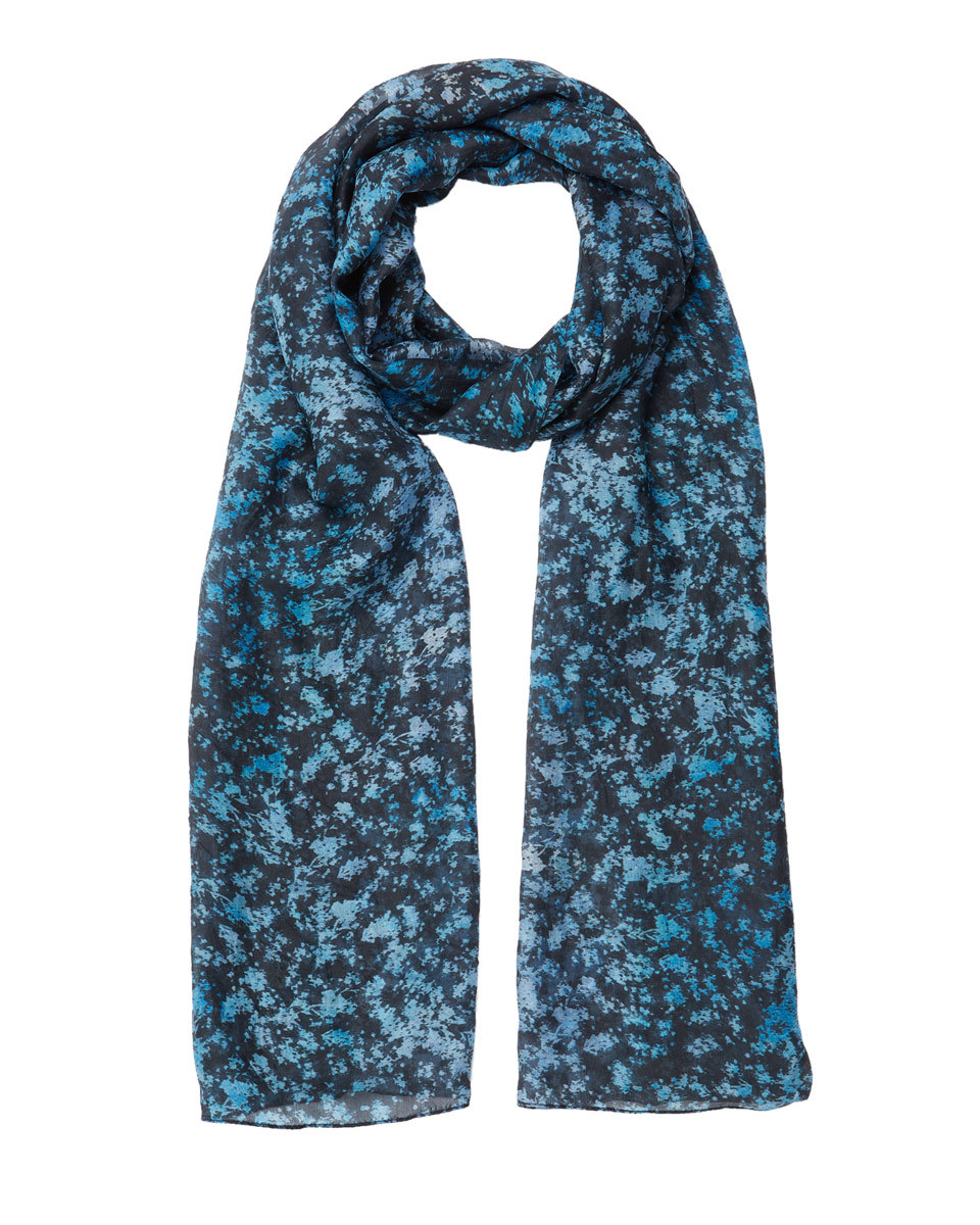 Sophia Shadow Floral Silk Scarf - predominant colour: royal blue; secondary colour: pale blue; occasions: casual, creative work; type of pattern: light; style: regular; size: standard; material: fabric; pattern: florals; season: s/s 2016; wardrobe: highlight