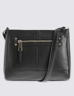 Leather Zip Detail Across Body Bag - predominant colour: black; occasions: casual, creative work; type of pattern: standard; style: shoulder; length: across body/long; size: small; pattern: plain; finish: plain; material: shearling; season: s/s 2016
