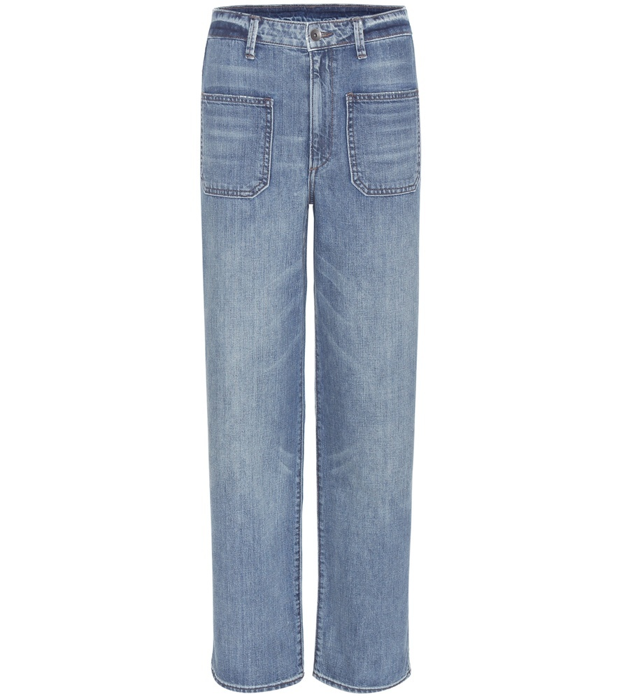 High Rise Crop Full Jeans - style: straight leg; length: standard; pattern: plain; waist: high rise; predominant colour: denim; occasions: casual; fibres: cotton - stretch; jeans detail: shading down centre of thigh; texture group: denim; pattern type: fabric; season: s/s 2016; wardrobe: basic