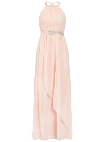 Womens **Quiz Diamante Trim Maxi Dress Pink - fit: fitted at waist; pattern: plain; sleeve style: sleeveless; style: maxi dress; length: ankle length; predominant colour: blush; fibres: polyester/polyamide - 100%; occasions: occasion; sleeve length: sleeveless; texture group: sheer fabrics/chiffon/organza etc.; pattern type: fabric; season: s/s 2016; neckline: high halter neck; wardrobe: event