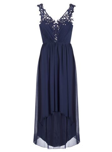 Womens *Quiz Chiffon Dip Hem Dress Blue - neckline: v-neck; pattern: plain; sleeve style: sleeveless; style: maxi dress; length: ankle length; predominant colour: navy; occasions: evening; fit: body skimming; fibres: polyester/polyamide - stretch; sleeve length: sleeveless; texture group: sheer fabrics/chiffon/organza etc.; pattern type: fabric; embellishment: lace; season: s/s 2016; wardrobe: event; embellishment location: bust