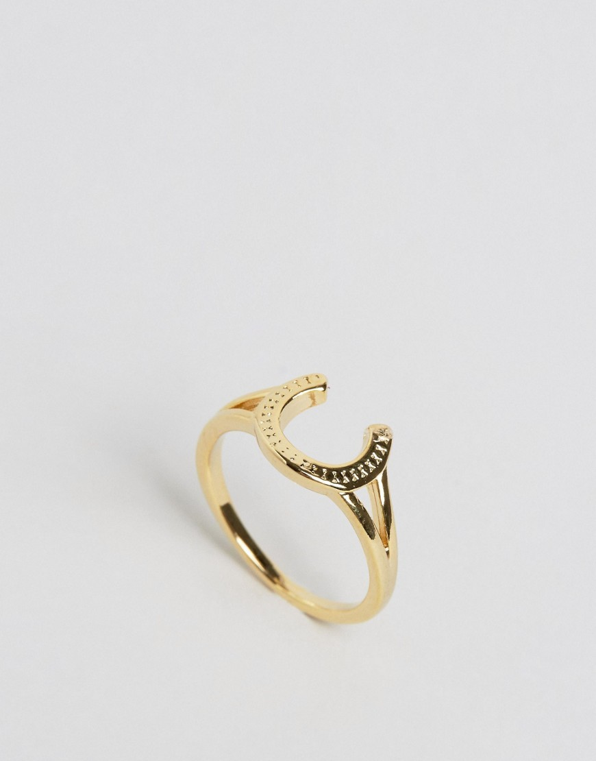 Limited Edition Horse Shoe Ring Gold - predominant colour: gold; style: band; size: standard; material: chain/metal; finish: metallic; occasions: creative work; season: s/s 2016; wardrobe: basic
