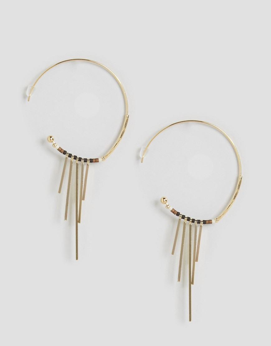 Limited Edition Bar Hoop Earrings Gold - predominant colour: gold; occasions: evening, occasion; style: hoop; length: mid; size: large/oversized; material: chain/metal; fastening: pierced; finish: metallic; embellishment: chain/metal; season: s/s 2016; wardrobe: event