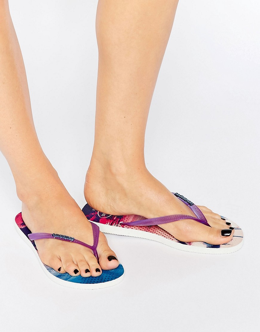 Slim Paisage Flip Flops 2650 - predominant colour: purple; occasions: casual, holiday; material: plastic/rubber; heel height: flat; heel: standard; toe: toe thongs; style: flip flops; finish: plain; pattern: plain; season: s/s 2016; wardrobe: highlight