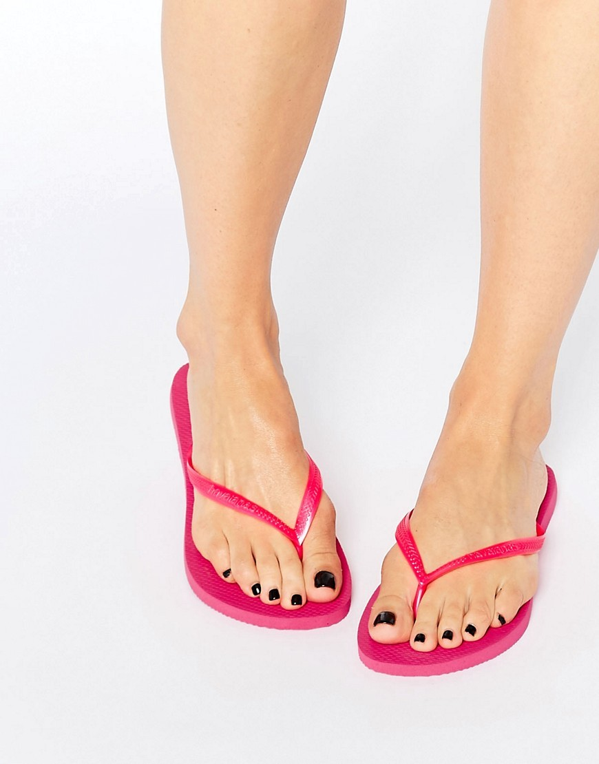 Hot Pink Slim Flip Flops 0703 - predominant colour: hot pink; occasions: casual, holiday; material: plastic/rubber; heel height: flat; heel: standard; toe: toe thongs; style: flip flops; finish: plain; pattern: plain; season: s/s 2016; wardrobe: highlight
