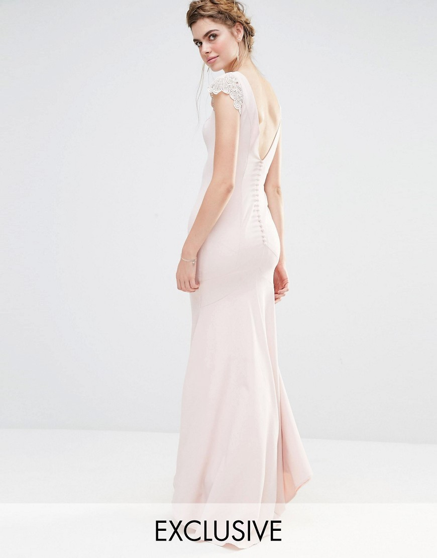 Wedding Fishtail Maxi Dress With Lace Cap Sleeve And Button Back Pale Pink - sleeve style: capped; pattern: plain; style: maxi dress; back detail: back revealing; hip detail: draws attention to hips; predominant colour: blush; occasions: evening; length: floor length; fit: body skimming; fibres: polyester/polyamide - 100%; neckline: crew; sleeve length: short sleeve; texture group: crepes; pattern type: fabric; embellishment: lace; shoulder detail: sheer at shoulder; season: s/s 2016; wardrobe: event; embellishment location: shoulder