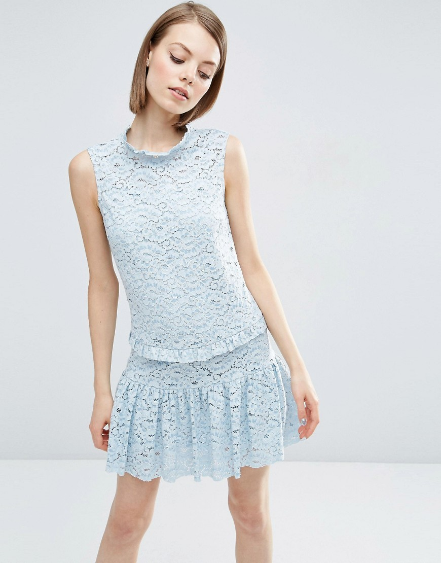 Pephem Lace Dress Pale Blue - style: shift; sleeve style: sleeveless; neckline: high neck; predominant colour: pale blue; occasions: evening; length: just above the knee; fit: body skimming; fibres: cotton - mix; sleeve length: sleeveless; texture group: lace; pattern type: fabric; pattern size: standard; pattern: patterned/print; season: s/s 2016; wardrobe: event