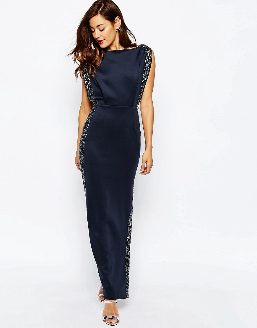 Embellished Trim Open Top Maxi Dress Navy - neckline: slash/boat neckline; sleeve style: capped; pattern: plain; style: maxi dress; length: ankle length; predominant colour: navy; secondary colour: silver; fit: body skimming; fibres: polyester/polyamide - stretch; occasions: occasion; sleeve length: sleeveless; pattern type: fabric; texture group: other - light to midweight; embellishment: beading; season: s/s 2016; wardrobe: event