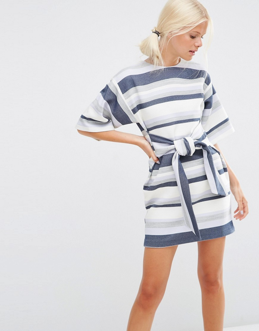 Tie Front Shift Dress In Natural Fibre Stripe Multi - style: shift; length: mid thigh; fit: fitted at waist; pattern: horizontal stripes; sleeve style: kimono; waist detail: belted waist/tie at waist/drawstring; predominant colour: white; secondary colour: navy; occasions: casual, creative work; fibres: acrylic - mix; neckline: crew; sleeve length: half sleeve; pattern type: fabric; pattern size: big & busy; texture group: other - light to midweight; season: s/s 2016; wardrobe: basic