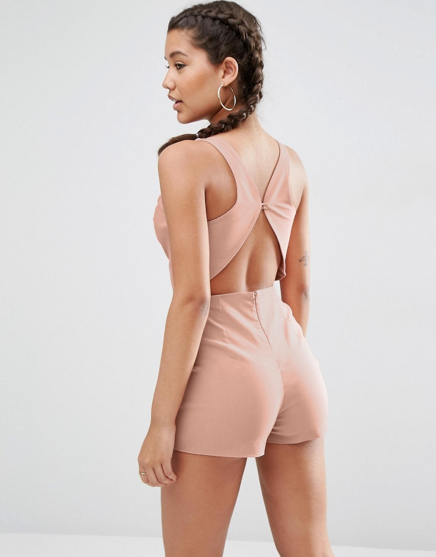 Sculpt Me Plunge Playsuit With Back Detail Nude - neckline: plunge; fit: tailored/fitted; pattern: plain; sleeve style: sleeveless; length: short shorts; predominant colour: nude; occasions: evening; fibres: polyester/polyamide - 100%; back detail: keyhole/peephole detail at back; sleeve length: sleeveless; texture group: crepes; style: playsuit; pattern type: fabric; season: s/s 2016