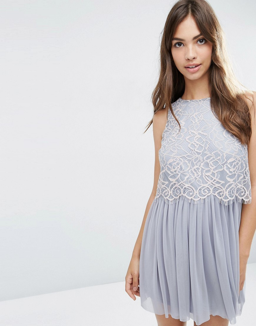 Delicate Lace Crop Top Mesh Skater Prom Dress Grey - style: shift; length: mini; sleeve style: sleeveless; secondary colour: ivory/cream; predominant colour: mid grey; occasions: evening, occasion; fit: soft a-line; fibres: polyester/polyamide - 100%; neckline: crew; hip detail: soft pleats at hip/draping at hip/flared at hip; sleeve length: sleeveless; texture group: sheer fabrics/chiffon/organza etc.; pattern type: fabric; pattern size: light/subtle; pattern: patterned/print; embellishment: lace; season: s/s 2016; wardrobe: event