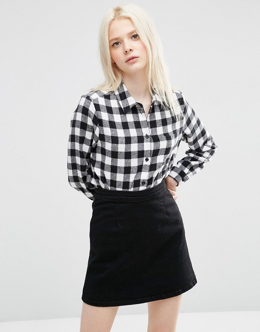 Gingham Check Shirt Multi - neckline: shirt collar/peter pan/zip with opening; pattern: checked/gingham; style: shirt; secondary colour: white; predominant colour: black; occasions: casual, creative work; length: standard; fibres: cotton - 100%; fit: body skimming; sleeve length: long sleeve; sleeve style: standard; trends: monochrome; texture group: cotton feel fabrics; pattern type: fabric; pattern size: big & busy (top); season: s/s 2016; wardrobe: highlight
