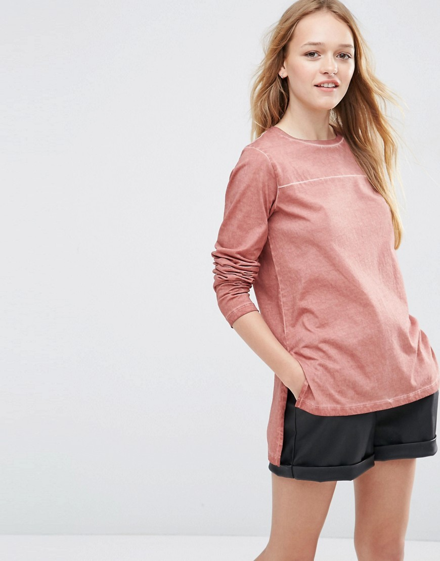 Longline Top In Oil Wash With Seam Detail Blush - neckline: round neck; pattern: plain; occasions: casual, activity; length: standard; style: top; fibres: cotton - 100%; fit: loose; back detail: longer hem at back than at front; sleeve length: long sleeve; sleeve style: standard; pattern type: fabric; texture group: jersey - stretchy/drapey; predominant colour: dusky pink; season: s/s 2016