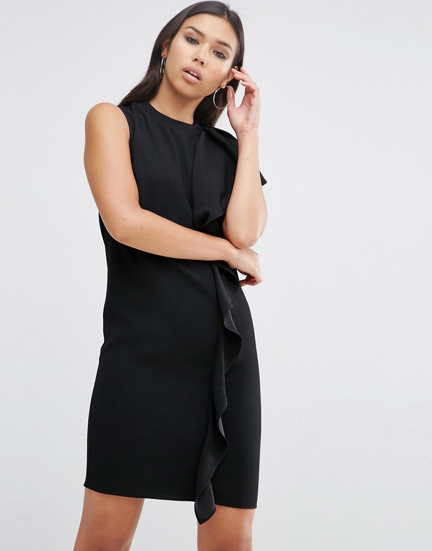 Sleeveless Ruffle Front Shift Dress Black - style: shift; length: mid thigh; fit: tailored/fitted; pattern: plain; sleeve style: asymmetric sleeve; predominant colour: black; occasions: evening, creative work; fibres: polyester/polyamide - 100%; neckline: crew; hip detail: adds bulk at the hips; sleeve length: sleeveless; texture group: crepes; bust detail: bulky details at bust; pattern type: fabric; season: s/s 2016; wardrobe: highlight