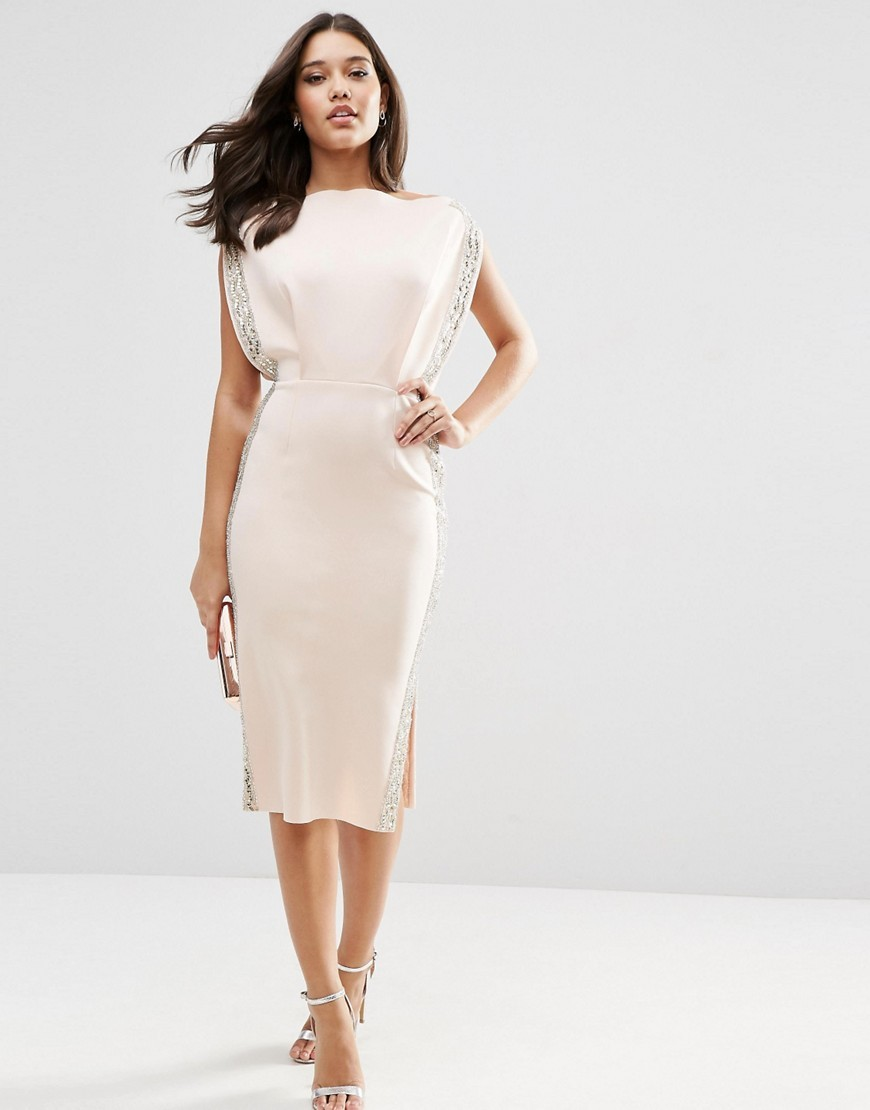 Embellished Trim Open Top Midi Bodycon Dress Nude - style: shift; length: below the knee; neckline: slash/boat neckline; sleeve style: capped; fit: tailored/fitted; pattern: plain; waist detail: fitted waist; predominant colour: nude; occasions: evening, occasion; fibres: polyester/polyamide - 100%; hip detail: slits at hip; sleeve length: short sleeve; texture group: crepes; pattern type: fabric; embellishment: crystals/glass; season: s/s 2016; wardrobe: event