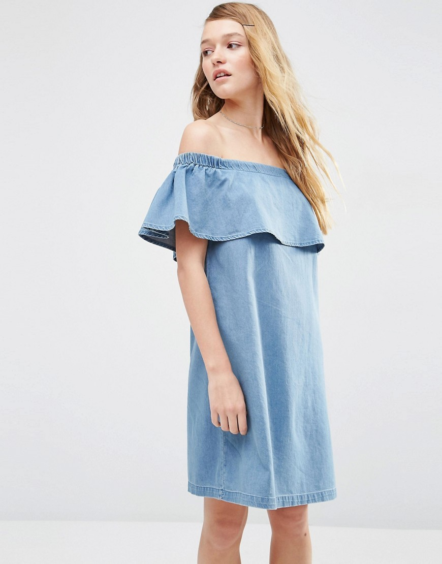 Denim Bardot Off Shoulder Dress With Ruffle Blue - length: mid thigh; neckline: off the shoulder; sleeve style: angel/waterfall; fit: loose; pattern: plain; style: sundress; predominant colour: denim; occasions: casual, holiday; fibres: cotton - stretch; sleeve length: short sleeve; texture group: denim; pattern type: fabric; season: s/s 2016; wardrobe: highlight