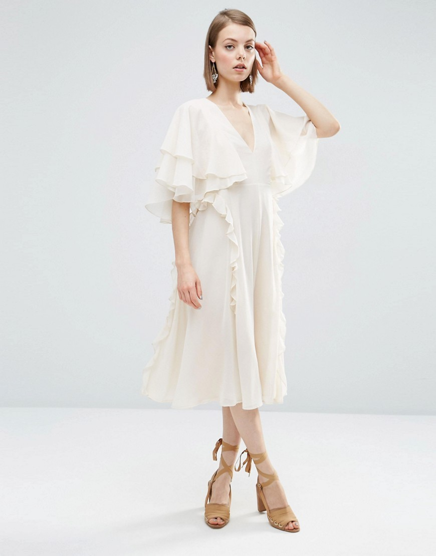 Cape Ruffle Soft Midi Dress Mink - style: shift; length: below the knee; neckline: v-neck; sleeve style: angel/waterfall; fit: fitted at waist; pattern: plain; predominant colour: ivory/cream; fibres: polyester/polyamide - 100%; occasions: occasion; hip detail: subtle/flattering hip detail; sleeve length: half sleeve; texture group: sheer fabrics/chiffon/organza etc.; pattern type: fabric; season: s/s 2016; wardrobe: event