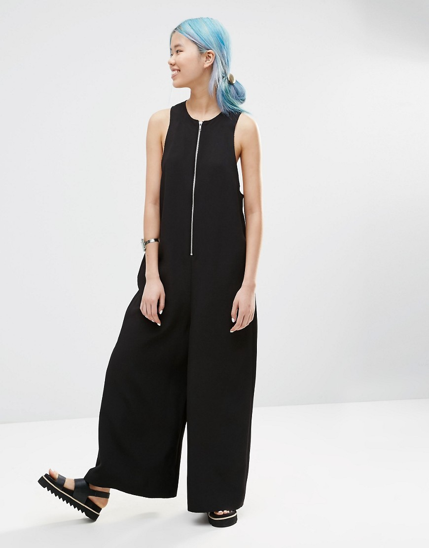 Zip Front Wide Leg Jumpsuit Black - length: standard; fit: loose; pattern: plain; sleeve style: sleeveless; predominant colour: black; occasions: evening; fibres: polyester/polyamide - 100%; neckline: crew; sleeve length: sleeveless; style: jumpsuit; pattern type: fabric; texture group: jersey - stretchy/drapey; season: s/s 2016; wardrobe: event