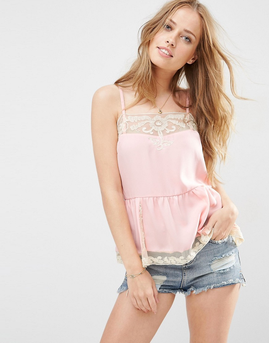 Lace Insert Slip Cami Top Pink - sleeve style: spaghetti straps; pattern: plain; style: camisole; predominant colour: blush; occasions: evening; length: standard; fibres: polyester/polyamide - 100%; fit: body skimming; sleeve length: sleeveless; texture group: silky - light; neckline: medium square neck; pattern type: fabric; embellishment: lace; season: s/s 2016; wardrobe: event