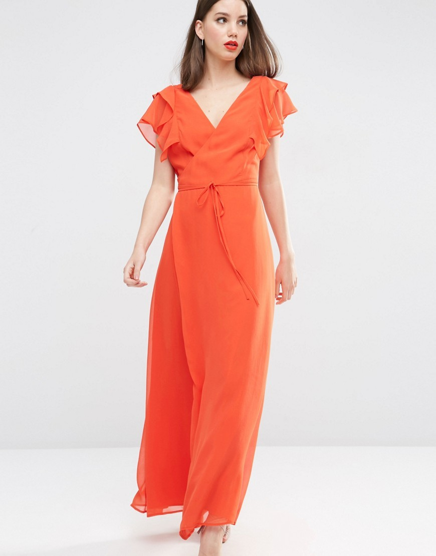 Frill Wrap Maxi Dress Orange - neckline: v-neck; sleeve style: angel/waterfall; fit: fitted at waist; pattern: plain; style: maxi dress; length: ankle length; predominant colour: bright orange; occasions: evening, occasion; fibres: polyester/polyamide - 100%; sleeve length: short sleeve; texture group: crepes; pattern type: fabric; season: s/s 2016; wardrobe: event