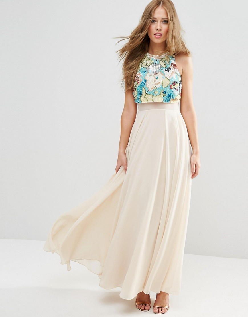 Multicoloured Embellished Crop Top Maxi Dress Multi - sleeve style: sleeveless; style: maxi dress; length: ankle length; bust detail: added detail/embellishment at bust; predominant colour: ivory/cream; secondary colour: turquoise; occasions: evening; fit: fitted at waist & bust; fibres: polyester/polyamide - 100%; neckline: crew; hip detail: soft pleats at hip/draping at hip/flared at hip; sleeve length: sleeveless; texture group: sheer fabrics/chiffon/organza etc.; pattern type: fabric; pattern size: standard; pattern: patterned/print; embellishment: sequins; season: s/s 2016