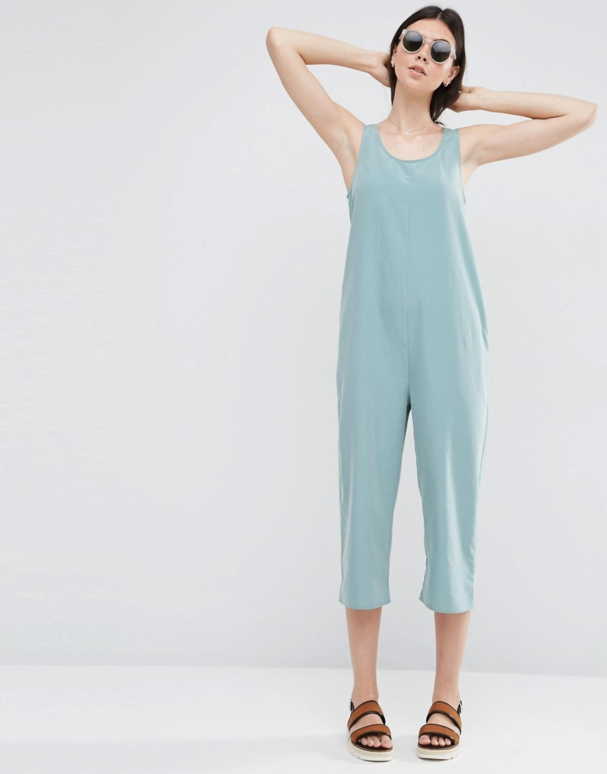 Minimal Jumpsuit Sage - neckline: round neck; sleeve style: standard vest straps/shoulder straps; fit: loose; pattern: plain; predominant colour: pale blue; occasions: casual; length: calf length; sleeve length: sleeveless; style: jumpsuit; pattern type: fabric; texture group: woven light midweight; fibres: viscose/rayon - mix; season: s/s 2016; wardrobe: highlight