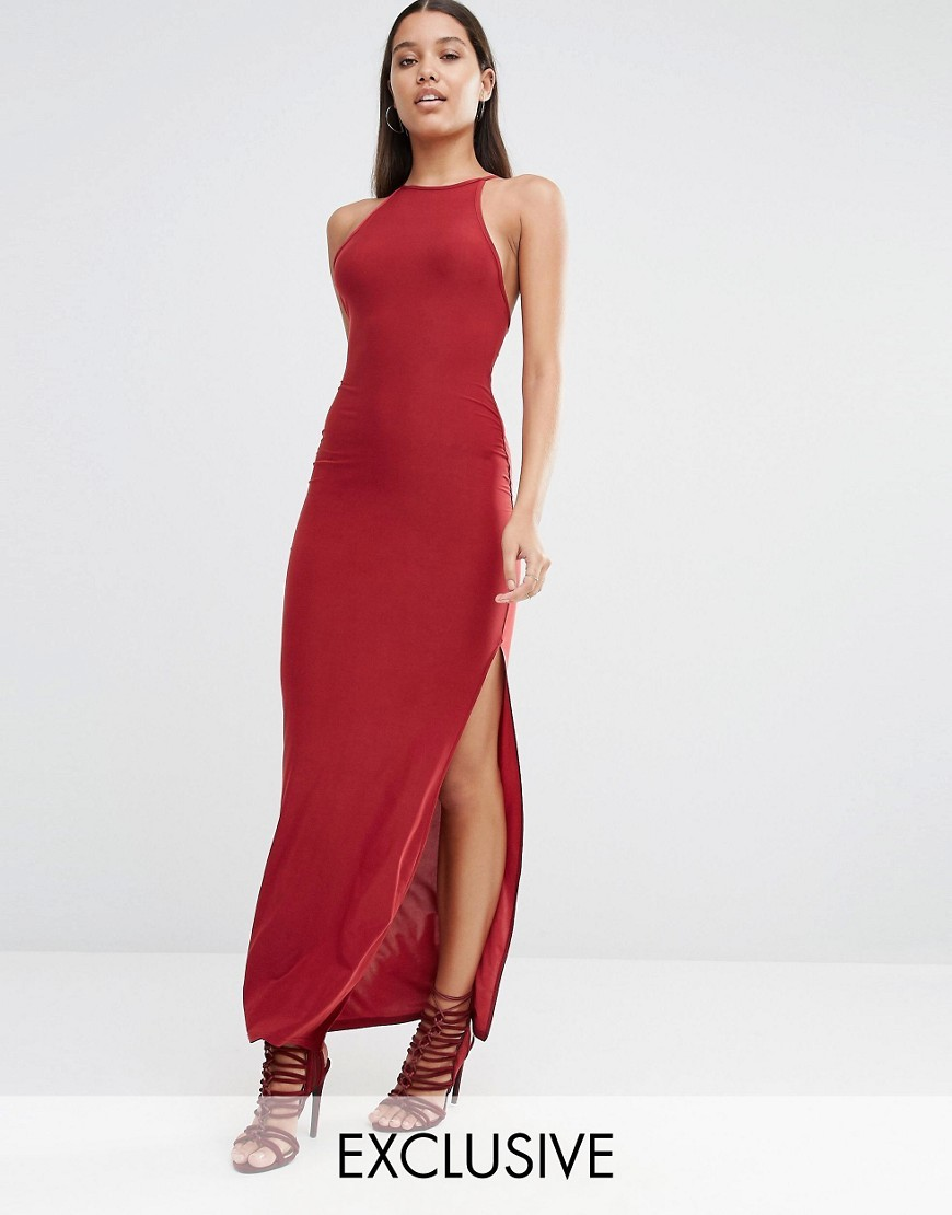 Cross Back Maxi Dress Syrah - fit: tight; pattern: plain; sleeve style: sleeveless; style: maxi dress; length: ankle length; predominant colour: burgundy; occasions: evening; fibres: polyester/polyamide - stretch; neckline: crew; hip detail: slits at hip; sleeve length: sleeveless; texture group: jersey - clingy; pattern type: fabric; season: s/s 2016