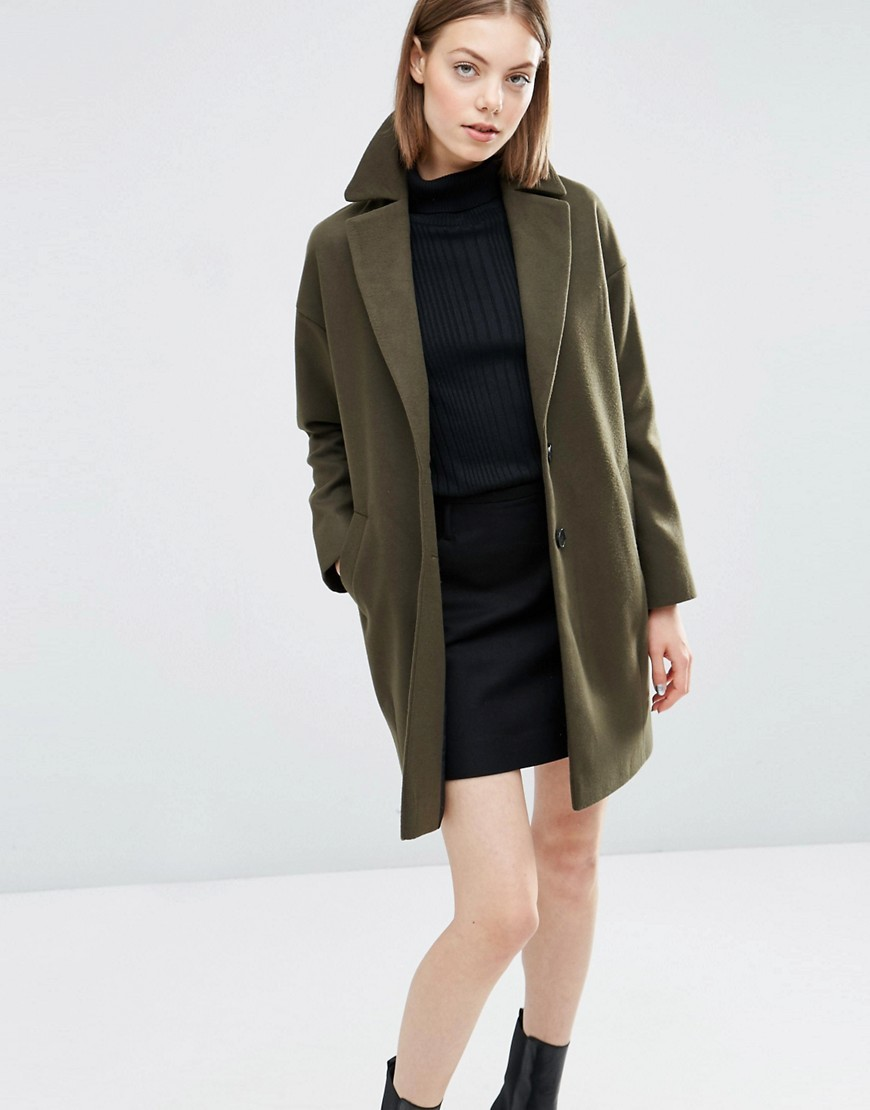 Boyfriend Coat In Cocoon Fit Khaki - pattern: plain; style: single breasted; collar: standard lapel/rever collar; length: mid thigh; predominant colour: khaki; occasions: casual; fit: straight cut (boxy); fibres: cotton - mix; sleeve length: long sleeve; sleeve style: standard; collar break: low/open; pattern type: fabric; texture group: other - bulky/heavy; season: s/s 2016; wardrobe: basic