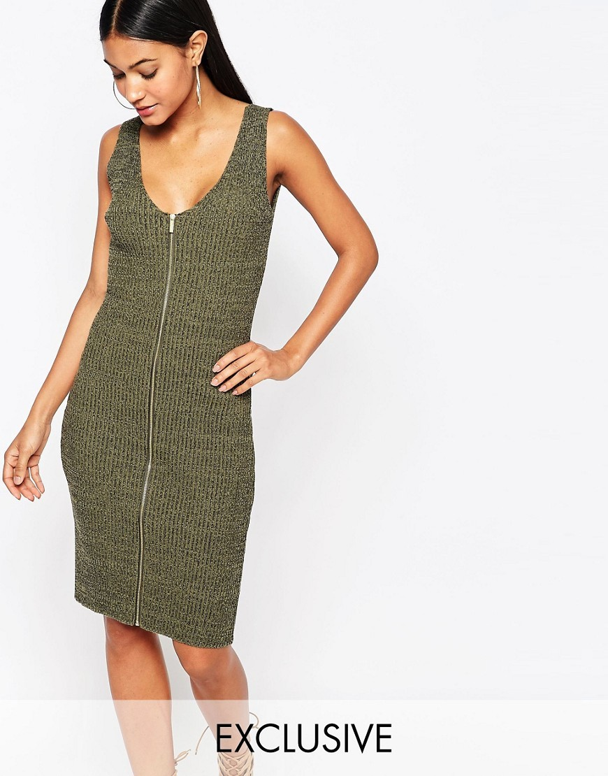 Fleur East Khaki Zip Through Dress Khaki - neckline: v-neck; fit: tight; pattern: plain; sleeve style: sleeveless; style: bodycon; predominant colour: khaki; occasions: casual; length: on the knee; fibres: acrylic - mix; sleeve length: sleeveless; texture group: jersey - clingy; pattern type: fabric; season: s/s 2016; wardrobe: basic