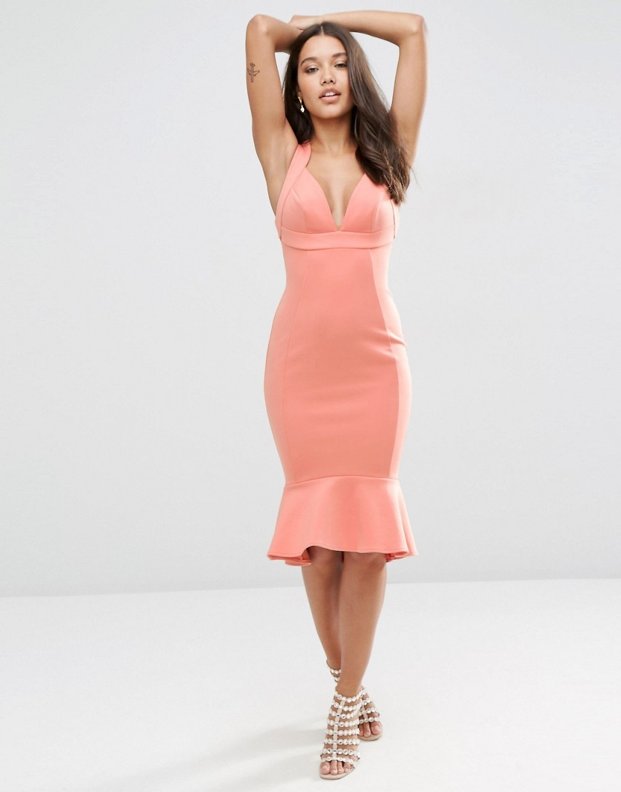 Thick Strap Pephem Bodycon Midi Dress Nude - style: shift; neckline: low v-neck; fit: tailored/fitted; pattern: plain; sleeve style: sleeveless; hip detail: fitted at hip; predominant colour: coral; occasions: evening, occasion; length: on the knee; fibres: polyester/polyamide - stretch; sleeve length: sleeveless; pattern type: fabric; texture group: other - light to midweight; season: s/s 2016; wardrobe: event