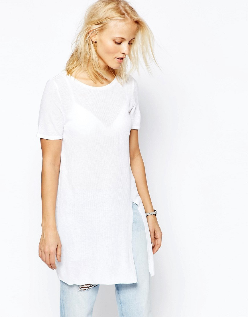 Longline Top With Front Split White - neckline: round neck; pattern: plain; length: below the bottom; predominant colour: white; occasions: casual, creative work; style: top; fit: loose; sleeve length: short sleeve; sleeve style: standard; pattern type: fabric; texture group: jersey - stretchy/drapey; fibres: viscose/rayon - mix; season: s/s 2016