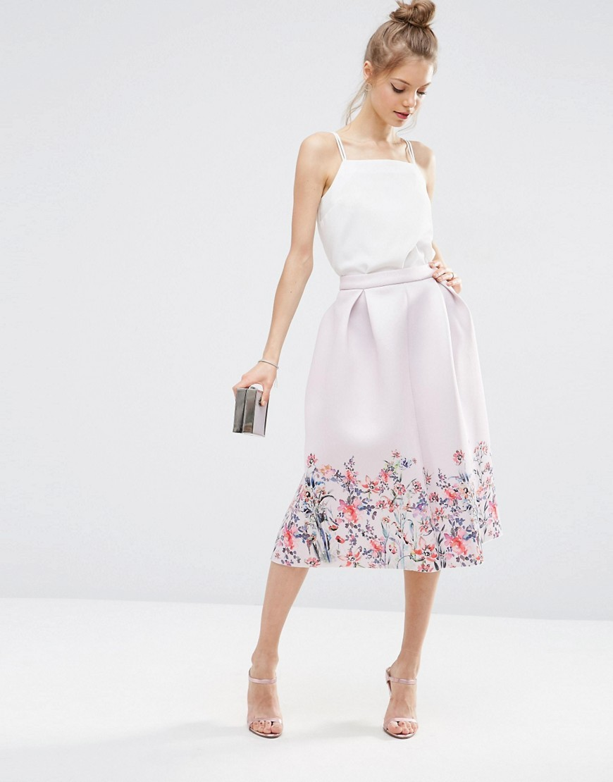 Scuba Prom Skirt With Floral Border Print Multi - length: below the knee; style: full/prom skirt; fit: loose/voluminous; waist: high rise; predominant colour: blush; secondary colour: lilac; occasions: evening, occasion; fibres: polyester/polyamide - 100%; hip detail: adds bulk at the hips; waist detail: feature waist detail; texture group: structured shiny - satin/tafetta/silk etc.; pattern type: fabric; pattern: florals; season: s/s 2016; wardrobe: event