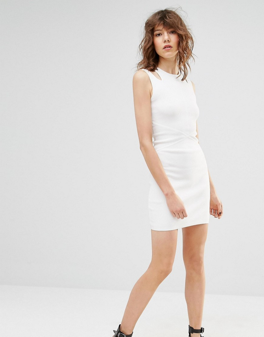 Sleeveless Bodycon Dress White - length: mid thigh; fit: tight; pattern: plain; sleeve style: sleeveless; style: bodycon; predominant colour: white; occasions: evening; neckline: crew; sleeve length: sleeveless; texture group: jersey - clingy; pattern type: fabric; fibres: viscose/rayon - mix; season: s/s 2016; wardrobe: event