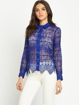 Lace Shirt - neckline: shirt collar/peter pan/zip with opening; pattern: plain; style: shirt; predominant colour: royal blue; occasions: evening; length: standard; fibres: cotton - mix; fit: body skimming; sleeve length: long sleeve; sleeve style: standard; pattern type: fabric; texture group: other - light to midweight; embellishment: lace; season: s/s 2016; wardrobe: event