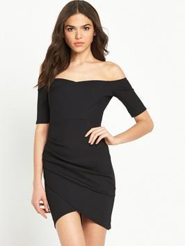 Bardot Bodycon Dress Black - length: mid thigh; neckline: off the shoulder; fit: tight; pattern: plain; style: bodycon; predominant colour: black; occasions: evening, occasion; fibres: viscose/rayon - stretch; sleeve length: half sleeve; sleeve style: standard; texture group: jersey - clingy; pattern type: fabric; season: s/s 2016; wardrobe: event