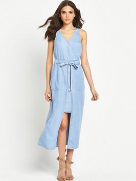 Belted Denim Midi Dress Light Blue - length: mid thigh; neckline: low v-neck; fit: fitted at waist; sleeve style: sleeveless; pattern: argyll; waist detail: belted waist/tie at waist/drawstring; predominant colour: pale blue; occasions: casual, creative work; style: asymmetric (hem); fibres: polyester/polyamide - 100%; sleeve length: sleeveless; texture group: denim; pattern type: fabric; pattern size: standard; season: s/s 2016; trends: riviera chic; wardrobe: highlight