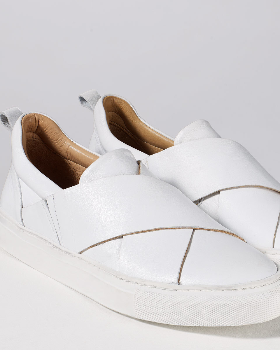Olivia Cross Strap Trainer - predominant colour: white; occasions: casual; material: leather; heel height: flat; toe: round toe; style: trainers; finish: plain; pattern: plain; season: s/s 2016; wardrobe: basic