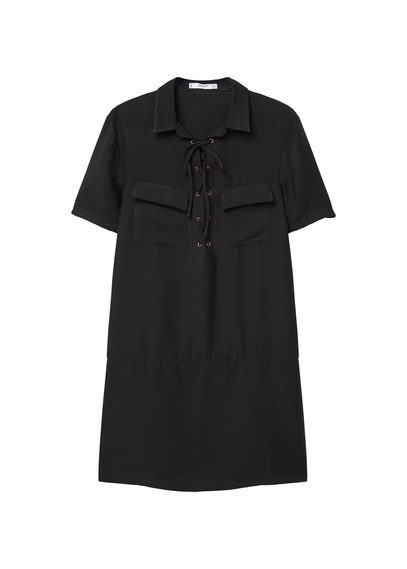 Drawstring Waist Dress - style: shirt; length: mid thigh; neckline: shirt collar/peter pan/zip with opening; pattern: plain; bust detail: pocket detail at bust; predominant colour: black; occasions: casual, creative work; fit: soft a-line; fibres: polyester/polyamide - 100%; sleeve length: short sleeve; sleeve style: standard; texture group: crepes; pattern type: fabric; season: s/s 2016; wardrobe: basic