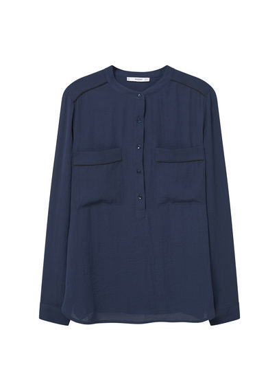 Chest Pocket Flowy Blouse - pattern: plain; style: blouse; predominant colour: navy; occasions: casual, creative work; length: standard; neckline: collarstand; fibres: polyester/polyamide - 100%; fit: straight cut; sleeve length: long sleeve; sleeve style: standard; texture group: crepes; bust detail: bulky details at bust; pattern type: fabric; season: s/s 2016; wardrobe: basic