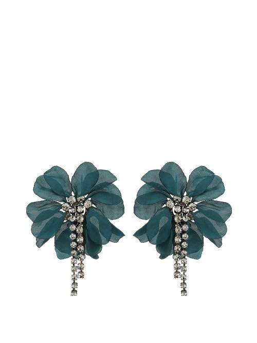 Floral Embellished Earrings - predominant colour: teal; occasions: evening, occasion; style: drop; length: mid; size: standard; material: chain/metal; fastening: pierced; finish: plain; embellishment: crystals/glass; season: s/s 2016