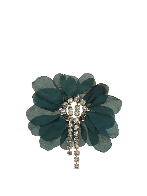 Floral Embellished Brooch - predominant colour: dark green; occasions: evening, creative work; style: classic; size: large/oversized; finish: plain; embellishment: crystals/glass; material: net; season: s/s 2016